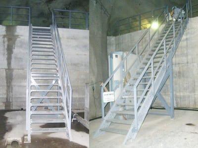 発電所の水圧管路下路にFRPグレーチングの階段を設置した事例