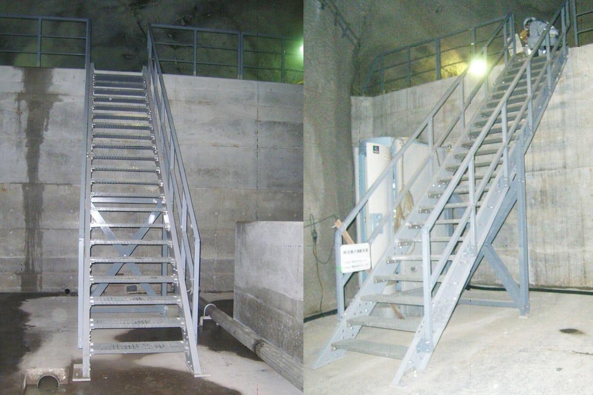 発電所の水圧管路下路の階段に使用したFRPグレーチング