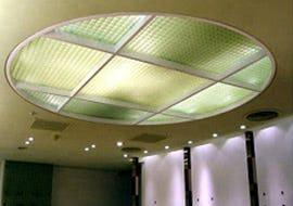 天井の間接照明としてFRPグレーチングを使用した事例